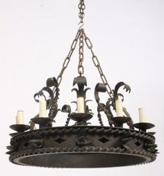 GOTHIC WROUGHT IRON CHANDELIER 12 LIGHTS Lantern Lamp, Lanterns, Ceiling Fixtures, Ceiling Lights, Wrought Iron Chandeliers, Architectural Antiques, Auction, Industrial, Architecture