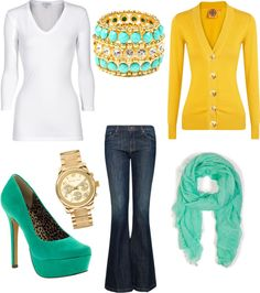 """yellow, turquoise color combo :)"" by jessicaandjohn-brown ❤ liked on Polyvore"