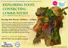 The poster for our Exploring Food, Connecting Communities event at the British Museum.