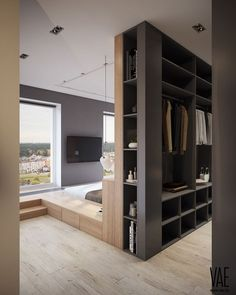 Why a floating bed in the middle can be the solution for your bedroom – Basement Bedrooms Bedroom Divider, Bedroom Closet Design, Master Bedroom Closet, Closet Designs, Bedroom Storage, Master Suite, Bedroom Bed, Bedroom Decor, Bedroom Furniture