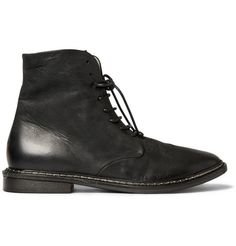 Marsell Washed-Leather Boots | MR PORTER | These Marsell boots have been made from soft, black washed-leather that ensures they'll break in quickly and be incredibly comfortable to wear. The high-cut ankle and lace up fastenings have a Victorian-influence to them. Wear yours tied up over slim-fitting denim for the coolest take.