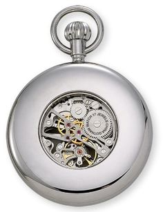 Gotham Men's Silver-Tone Mechanical Pocket Watch with Desktop Stand # GWC14034SR-ST