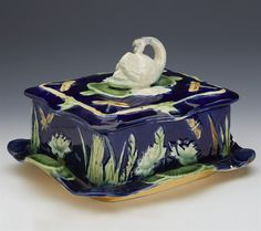 Antique English Majolica   Superb Antique English Majolica Sardine Dish With Swan And Dragonflies ...