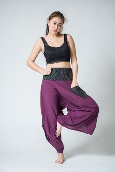 Women's Thai Button Up Cotton Pants with Hill Tribe Trim Purple