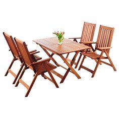 Zestaw mebli ogrodowych Meranti,w skład którego wchodzi praktyczny składany stolik oraz 4...