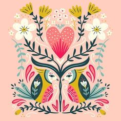 I had so much fun with this palette, that I had to try it with another drawing. ❤️ I can see this on a future print and wedding/engagement card. Folk Art Flowers, Flower Art, Floral Illustrations, Illustration Art, Polish Folk Art, Scandinavian Folk Art, Guache, Thinking Day, Arte Popular