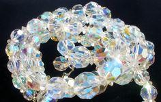1950's Multi 3 Strand AB Crystal Quartz Bead Rhinestone Vintage Necklace   eBay