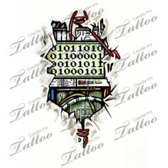 Marketplace Tattoo Ripped Skin Binary Biomechanical #4076 | CreateMyTattoo.com