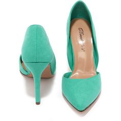 Suede to Order Aqua Green Suede D'Orsay Heels (35 CAD) ❤ liked on Polyvore featuring shoes, pumps, suede pointy toe pumps, aqua shoes, pointed toe high heel pumps, pointy-toe pumps and high heel shoes