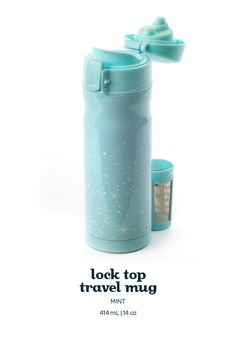 Lock top travel mug - Mint. This pretty mint green mug has a leakproof lid that locks shut to prevent spills or leaks.