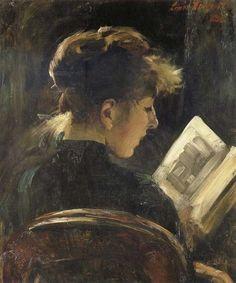 books0977:    Reading Girl. Lovis Corinth (German Impressionism, 1858-1925).