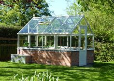 A Hartley Botanic Tradition 8 Planthouse in situ, in a client's garden #Brick #Hartley #Greenhouse #Glasshouse #Garden #Gardening #GrowYourOwn