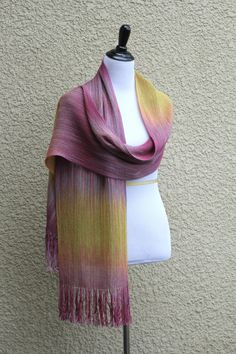 Hand woven long pashmina scarf with gradually changing colors from pink fuchsia to mustard yellow. My scarves are unique and OOAK as it is almost impossible to make two ide... #kgthreads