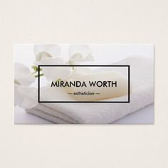 Spa Beauty White Clean Simple Modern Business Card
