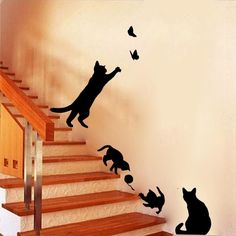 Staircase Cats Wall Sticke Vinyl Home Decor Living Room Kids Wall Decoration Stickers DIY Autocollant Mural