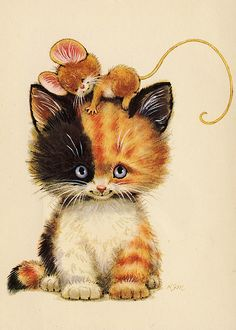 cute illustration Calico Cat and Mouse I Love Cats, Crazy Cats, Cute Cats, Funny Cats, Stuffed Animals, Image Chat, Cat Mouse, Cat Drawing, Cute Illustration