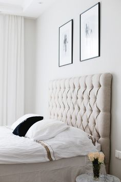 gorgeous headboard (add rufflier, more lush comforter in soft creame or white, with pastel pillows)
