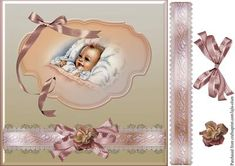 New baby girl on Craftsuprint designed by Lajla Olsen - Large cardfront with…