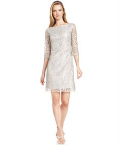 Calvin Klein Dress, Three-Quarter-Sleeve Metallic Lace - Dresses - Women - Macy's  (Kim's wedding)