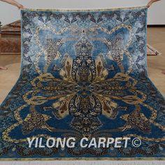 Yilong 6.56'x9.84' wholesale oriental rug blue iran qum silk carpet (0779)