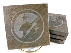 HALO FANATIC COASTERS - Carved Natural Slate Stone - Insignia Master Chief Spartan Video Games by BlythHouseCreations on Etsy Slate Stone, Coaster Design, Master Chief, Over The Years, Halo, Coasters, Video Games, Carving, Gallery