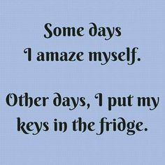 SOME DAYS I AMAZE MY SELF... OTHER DAYS, I PUT MY KEYS IN THE FRIDGE...