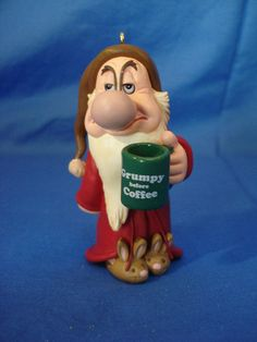 Grumpy Before Coffee Christmas Ornament Snow White Dwarfs Disney Hallmark 2007 Snow White Movie, Snow White Doll, Hallmark Christmas Ornaments, Disney Ornaments, Christmas Trees, Grumpy Dwarf, Snow White Dwarfs, Coffee Art, Holidays And Events