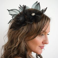 2 Mini black crinoline and rhinestone flower hair by TaraMDesigns Tara M, Flower Hair Accessories, Horse Hair, Flowers In Hair, Fascinator, Etsy Store, Bridal, Trending Outfits, Mini
