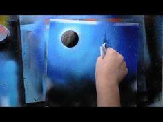 Blue Mountains & waterfall Spray paint art