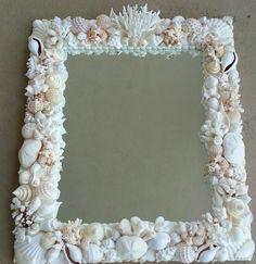 "Seashell mirror 26""x30 all white by BlueIslandshell on Etsy"