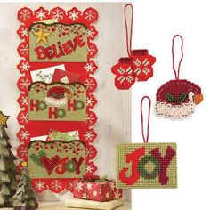 Craftways® Homespun Christmas Card with 3 Ornaments Plastic Canvas Kit
