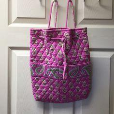Vera Bradley Drawstring Backpack Pattern- Bermuda Pink. Discontinued pattern. Great condition. Vera Bradley Bags Backpacks