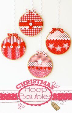Christmas Craft Tutorial :: Christmas hoop Baubles  Red Brolly