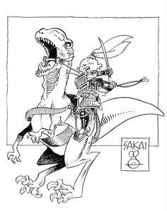 Usagi on Dinosaur by Stan Sakai. 9x12 ink on paper.