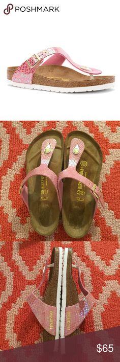 Birkenstocks size 39 Pink Snakeskin. Gold metalwork. Worn once! Birkenstock Shoes Flats & Loafers