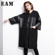 [EAM] 2017 new autumn stand collar solid color black PU leather split joint loose big size jacket women fashion tide JC25301 http://thegayco.com/products/eam-2017-new-autumn-stand-collar-solid-color-black-pu-leather-split-joint-loose-big-size-jacket-women-fashion-tide-jc25301
