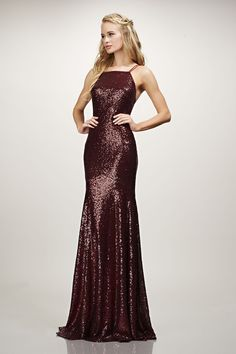 Sleeveless cutaway spaghetti strap, lace-up back, micro-sequin mermaid gown