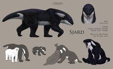 Reminds me of Akhlut /// Sjard ref by Saxargarm on DeviantArt Alien Creatures, Mythical Creatures Art, Mythological Creatures, Magical Creatures, Creature Drawings, Animal Drawings, Wolf Drawings, Creature Concept Art, Creature Design
