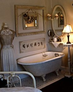 The tub is against the wall. Different, but quaint :)