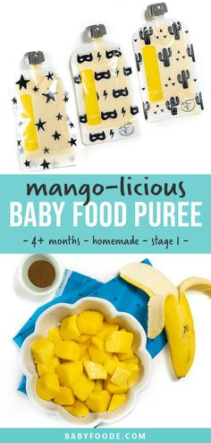 Baby Puree Recipes, Pureed Food Recipes, Baby Food Recipes, Baby First Foods, Baby Finger Foods, Toddler Meals, Toddler Food, Mango Puree, Baby Eating