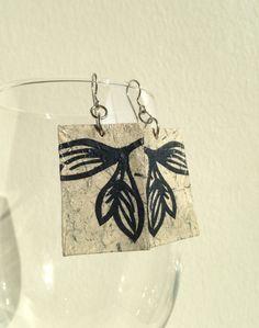 Grey & Navy Handmade Hanji Paper Dangle Earrings Leaf by HanjiNaty, $14.00