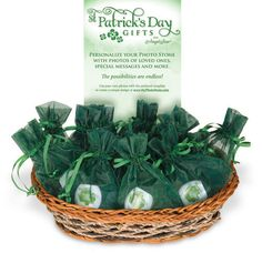St. Patrick's Day Photo Stones in organza bags. Personalize with your own photos!