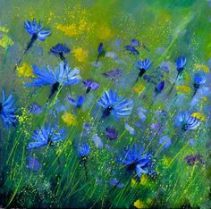 Blue cornflowers 555160, painting by artist ledent pol