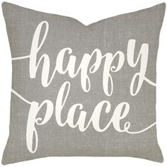 TheWatsonShop Happy Place Typography Cotton Throw Pillow & Reviews | Wayfair