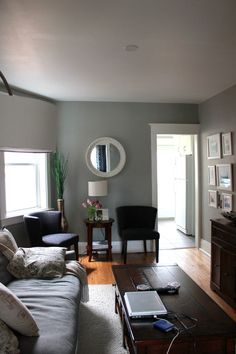 Living room decor - walls are Benjamin Moore Gray Owl, trim is White Dove.  Couch and overhanging light from West Elm, coffee table and end table from Pottery Barn - Science of Married