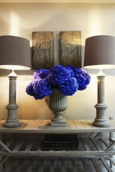 Very simple vignette, but so beautiful with the pop of the bright blue flowers. Blue Hydrangea, Blue Flowers, Hydrangeas, Flower Power, Color Pop, Flower Arrangements, Beautiful Flowers, Sweet Home, Design Inspiration