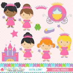 Princesa clipart prediseñadas digital  princesa por DigitalBakeShop, $5.00