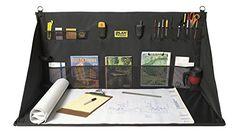 Plan Station Portable Standing Desk Workbench Work Station Storage for Jobsite Garage Office Shop Hanging Work Surface 20 Pockets Black (WS3800)