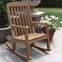 Comfort meets its match with the Linden teak rocker. Contemporary design elements like the curved top rail and sculpted arms make it a one-of-a-kind rocking chair. Teak Rocking Chair, Rocking Chair Plans, Outdoor Rocking Chairs, Comfortable Outdoor Chairs, Teak Adirondack Chairs, Big Comfy Chair, Brown Leather Chairs, Craftsman Furniture, Diy Chair