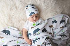 Bear Themed Personalized Baby Blanket-Blanket For Baby